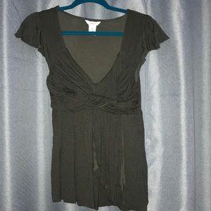 Babydoll style tee-shirt dark grn w/ Blk stripes